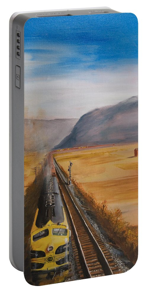 Train Portable Battery Charger featuring the painting Somewhere West Of Corning by Christopher Jenkins