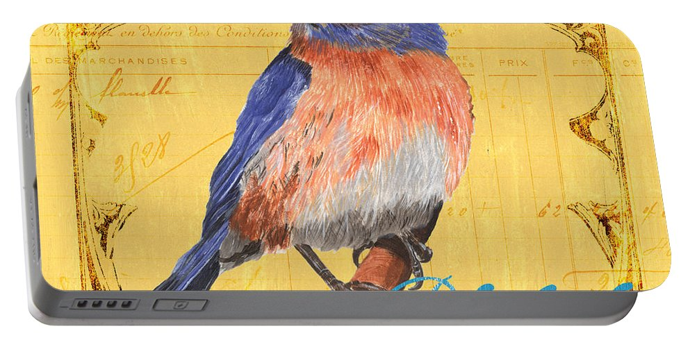 Bird Portable Battery Charger featuring the painting Colorful Songbirds 1 by Debbie DeWitt