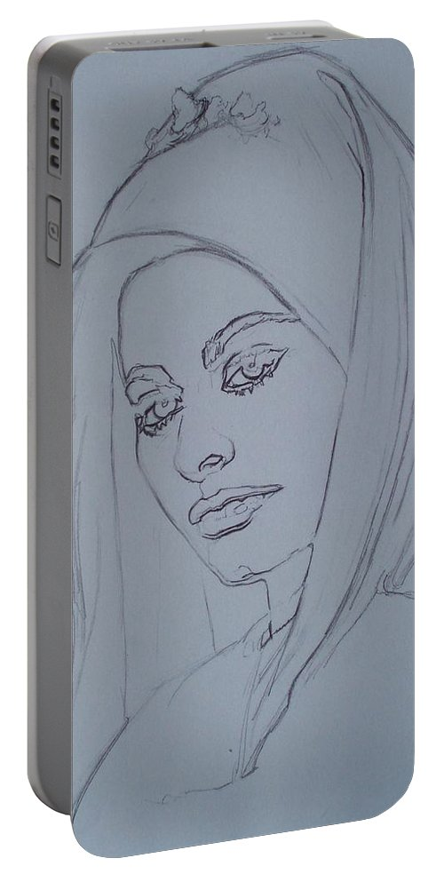 Woman Portable Battery Charger featuring the drawing Sophia Loren In Headdress by Sean Connolly