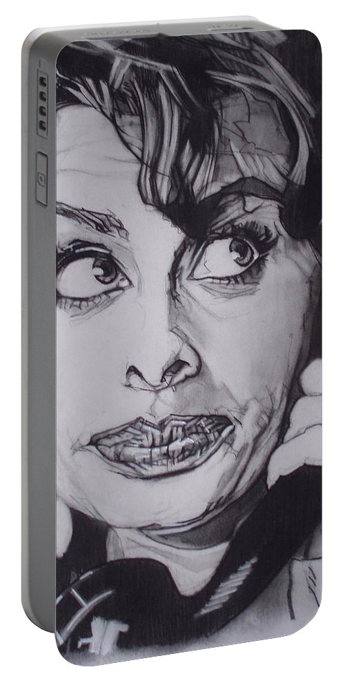 Charcoal;icon;actress;diva;italian;cat Eyes;beautiful;cute;adorable Portable Battery Charger featuring the drawing Sophia Loren Telephones by Sean Connolly