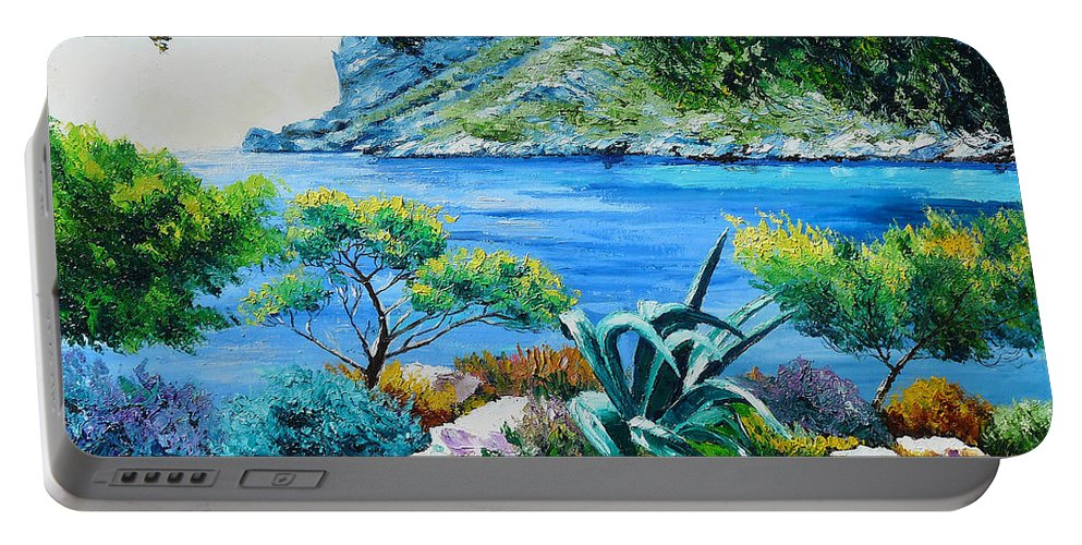 Jean-marc Janiaczyk Portable Battery Charger featuring the painting Sormious Cove by Jean Marc Janiaczyk