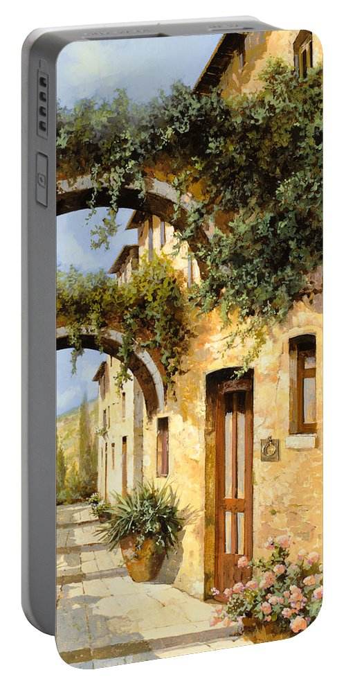 Arch Portable Battery Charger featuring the painting Sotto Gli Archi by Guido Borelli
