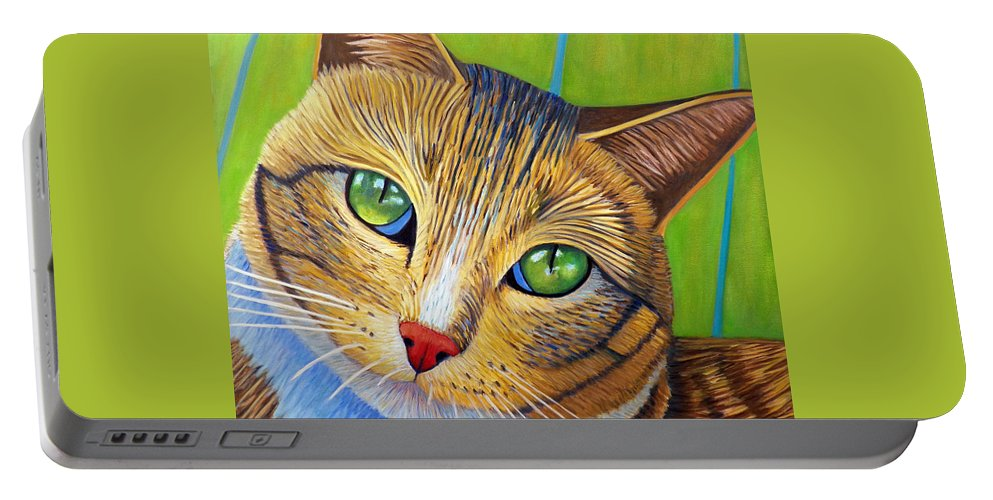 Cat Portable Battery Charger featuring the painting Soul 2 Soul by Brian Commerford