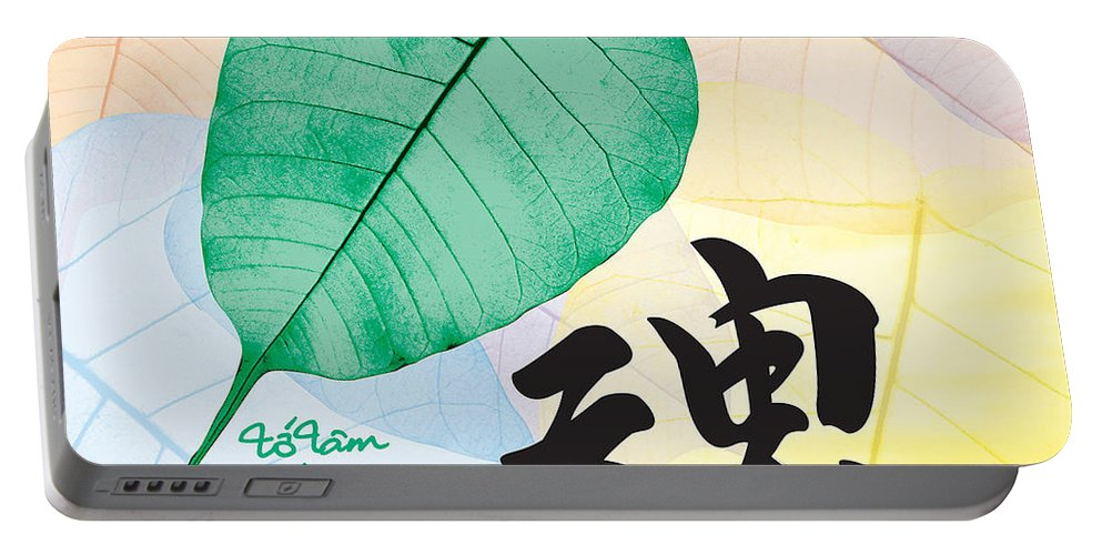 Buddha Leaf Portable Battery Charger featuring the digital art Soul - Bodhi Leaf by To-Tam Gerwe