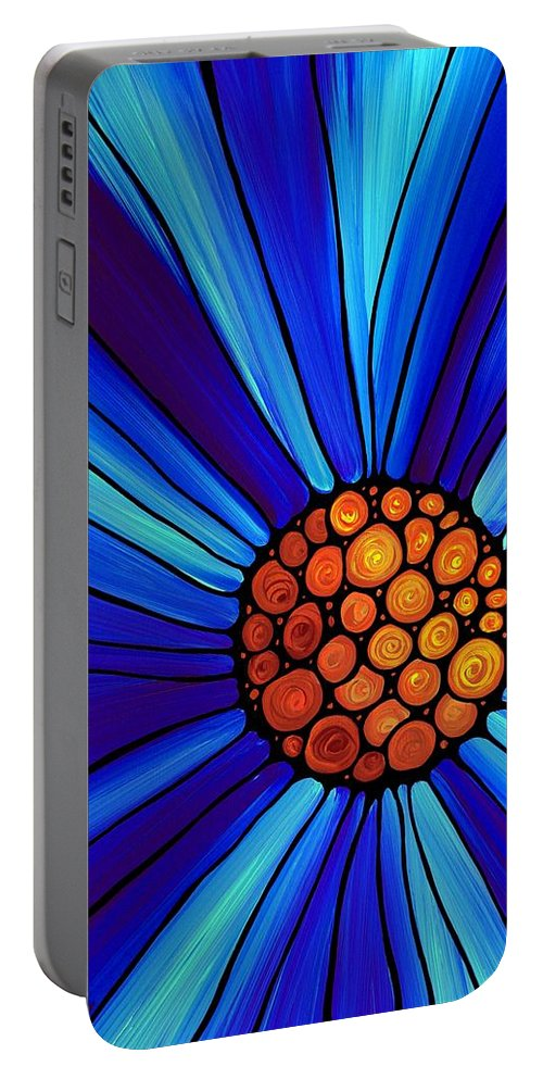 Blue Portable Battery Charger featuring the painting Soul Kiss 1 by Sharon Cummings