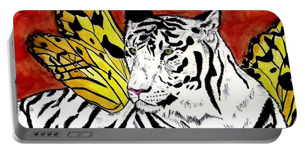 Tiger Portable Battery Charger featuring the painting Soul Rhapsody by Crystal Hubbard