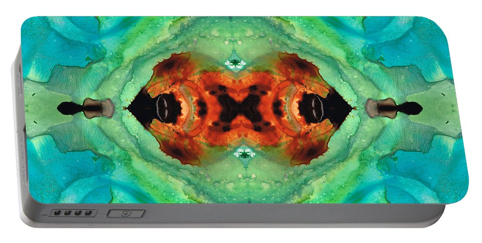 Abstract Portable Battery Charger featuring the painting Soul Symphony - Abstract Art By Sharon Cummings by Sharon Cummings