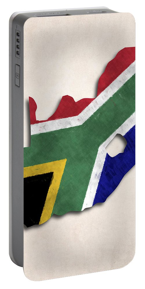 Africa Portable Battery Charger featuring the digital art South Africa Map Art With Flag Design by World Art Prints And Designs