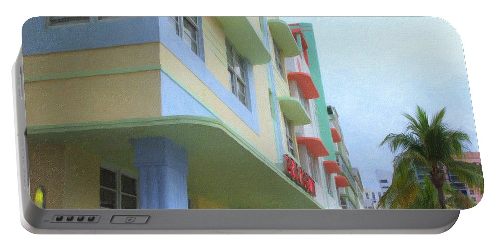 Art Deco Portable Battery Charger featuring the photograph South Beach Facades by Tom Reynen