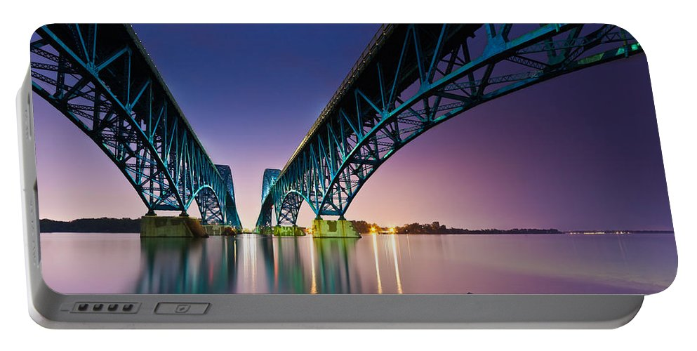 Horizontal Portable Battery Charger featuring the photograph South Grand Island Bridge by Mihai Andritoiu