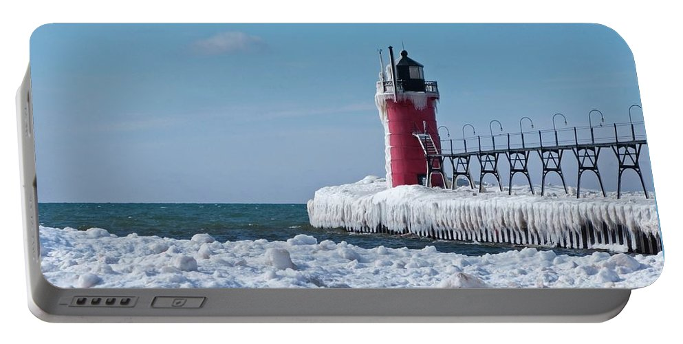 Lighthouse Portable Battery Charger featuring the photograph South Haven Ice by Ann Horn