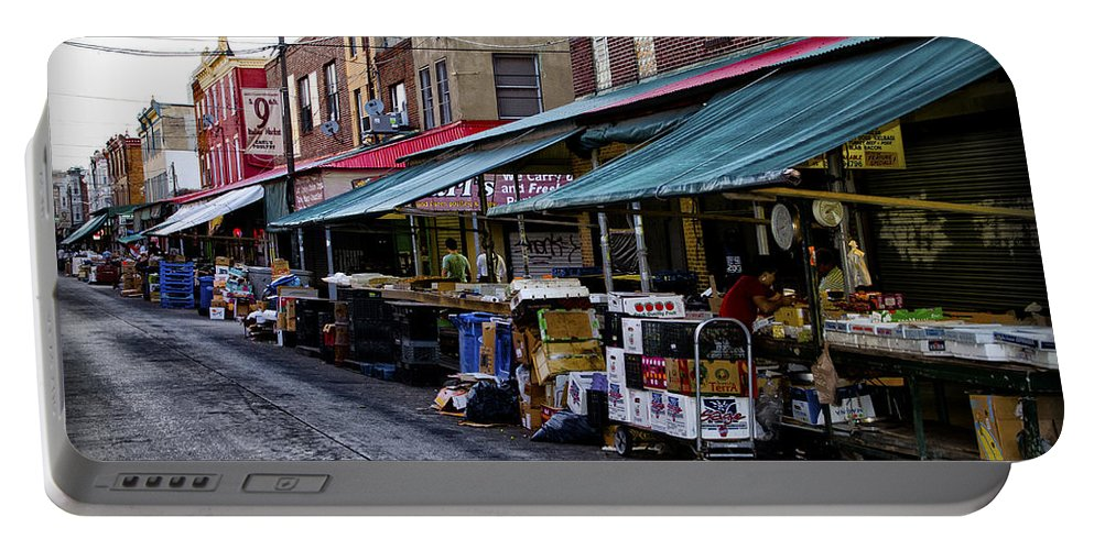 South Portable Battery Charger featuring the photograph South Philly Italian Market by Bill Cannon