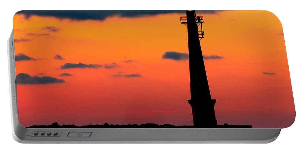 Lighthouse Portable Battery Charger featuring the photograph South Pier Light At Night by Nick Zelinsky