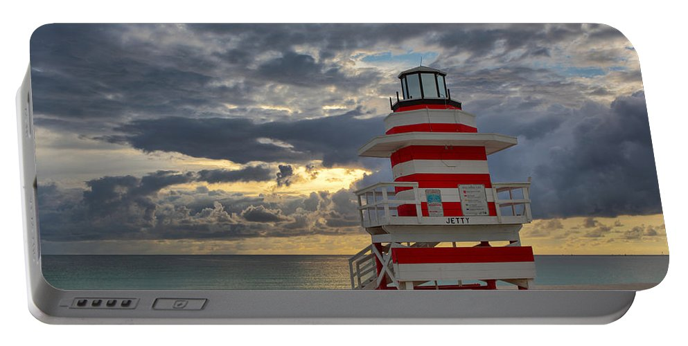 Usa Portable Battery Charger featuring the photograph South Pointe Park Lighthouse by Claudia Domenig