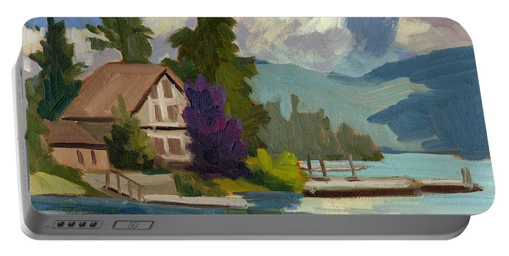 South Shore Portable Battery Charger featuring the painting South Shore Big Bear Lake by Diane McClary