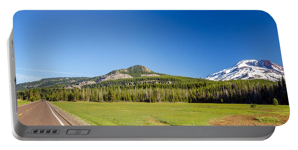 Road Portable Battery Charger featuring the photograph South Sister And Highway by Jess Kraft
