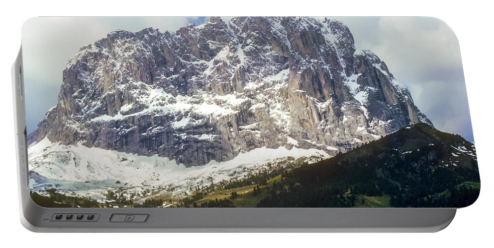 South Tyrol Mountain Mountains Tree Trees Hillside Hillsides Snow Rock Landscape Landscapes Snowscape Snowscapes Italy Tyrolean Alps Portable Battery Charger featuring the photograph South Tyrol by Bob Phillips