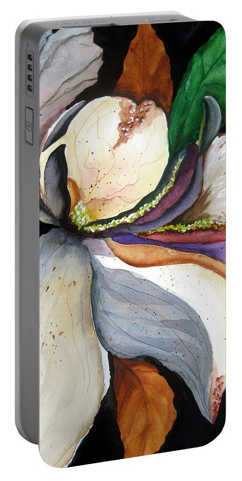 Flower Music Portable Battery Charger featuring the painting White Glory II by Lil Taylor