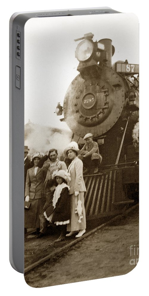 Southern Pacific Portable Battery Charger featuring the photograph S P Baldwin Locomotive 2285 Class T-26 Ten Wheel Steam Locomotive At Pacific Grove California 1910 by California Views Archives Mr Pat Hathaway Archives