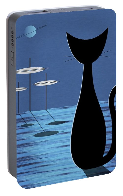 Mid Century Modern Portable Battery Charger featuring the digital art Space Cat In Blue by Donna Mibus