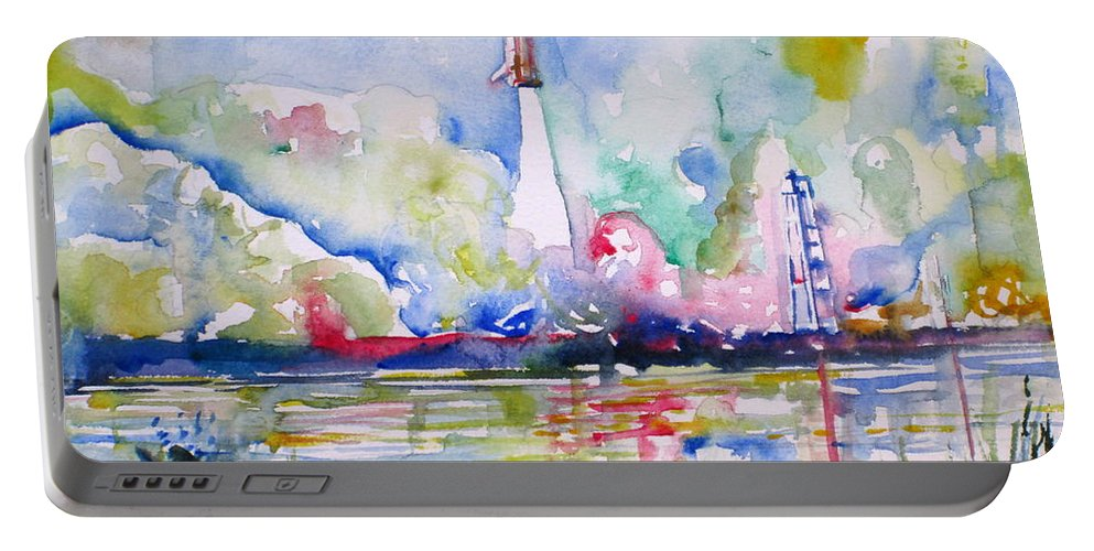 Space Portable Battery Charger featuring the painting Space Shuttle Taking Off by Fabrizio Cassetta