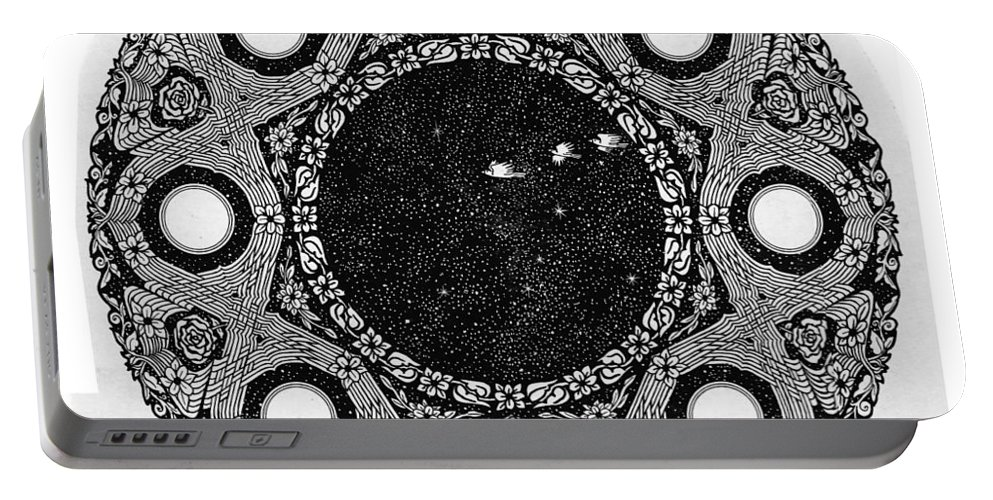 Circle Portable Battery Charger featuring the drawing Spaceship by Karma Moffett