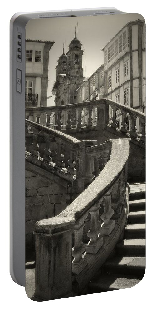 Spain Portable Battery Charger featuring the photograph Plaza Stairs In Spain Series 24 by Carlos Diaz