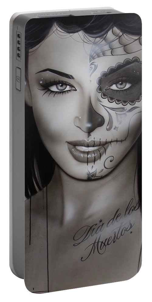 Sugar Skull Portable Battery Charger featuring the painting Spanish Dark Temptation by Christian Chapman Art