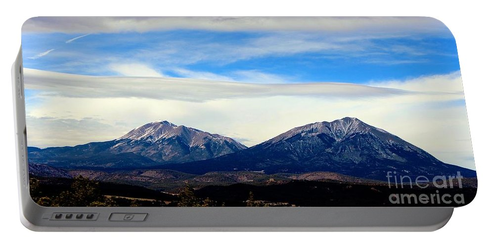 Spanish Peaks Portable Battery Charger featuring the photograph Spanish Peaks Magnificence by Barbara Chichester
