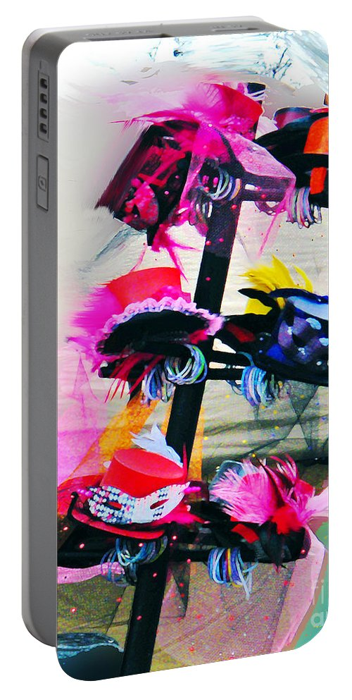 Parade Portable Battery Charger featuring the digital art Spanish Town Parade Hats by Lizi Beard-Ward