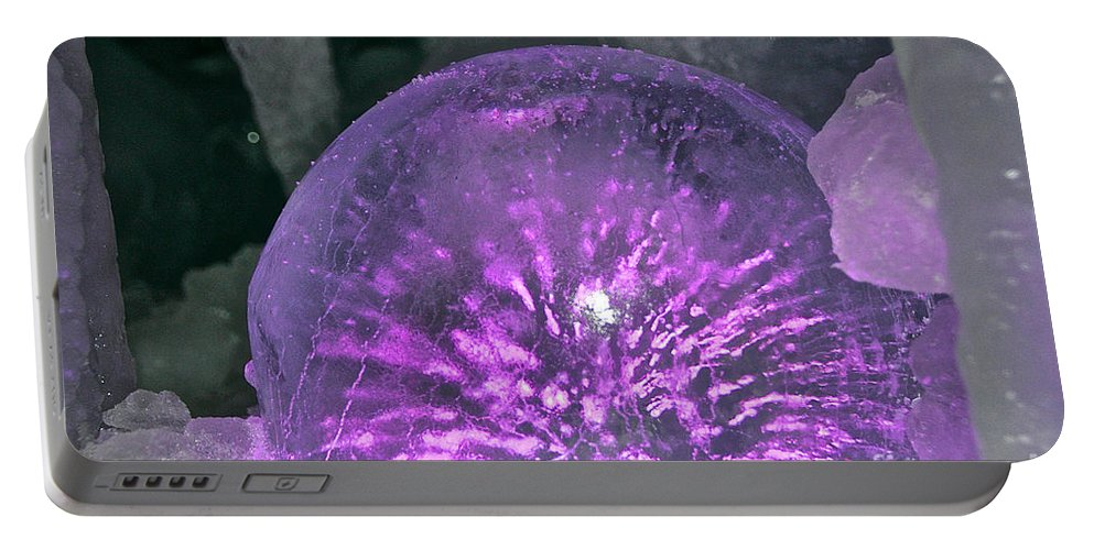 Ice Portable Battery Charger featuring the photograph Sparkle Sphere by Susan Herber