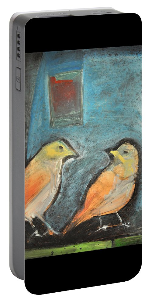 Birds Portable Battery Charger featuring the painting Sparrows by Tim Nyberg
