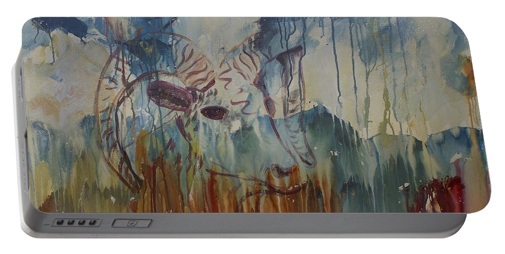 Canyon Paintings Portable Battery Charger featuring the painting Spearfish Canyon by Avonelle Kelsey