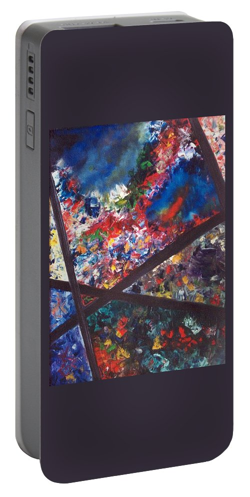 Abstract Portable Battery Charger featuring the painting Spectral Chaos by Micah Guenther