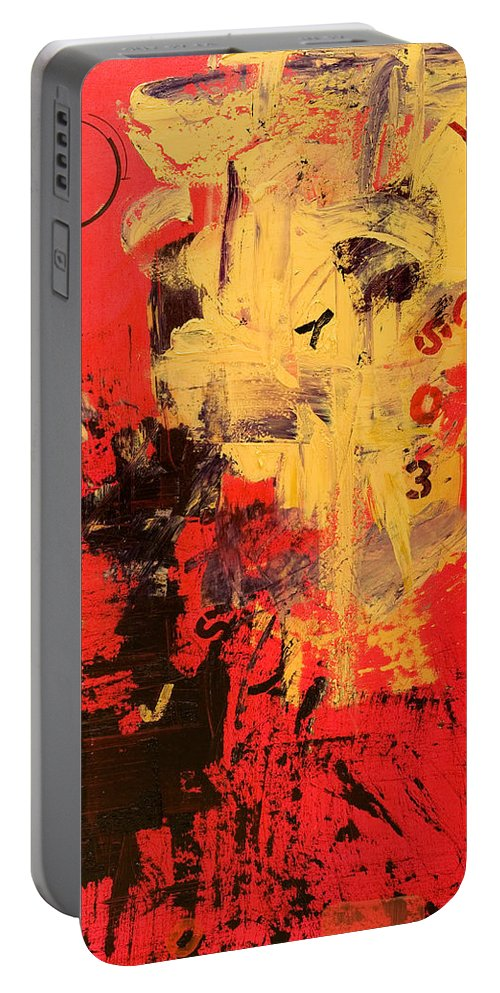 Abstract Portable Battery Charger featuring the painting Speechless by Laura Warburton