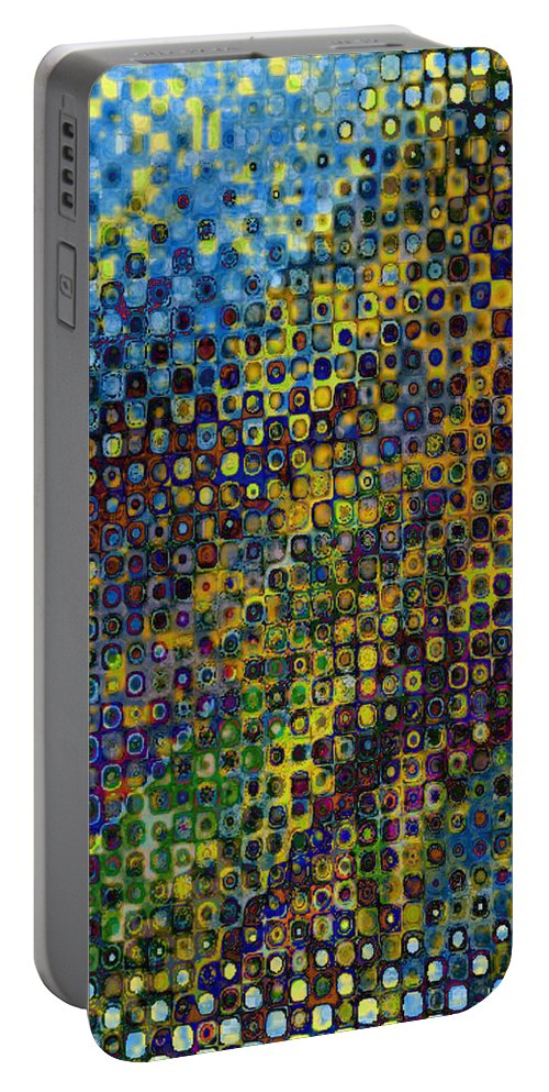 Abstract-art Portable Battery Charger featuring the digital art Spex Pseudo Abstract Art by Mary Clanahan