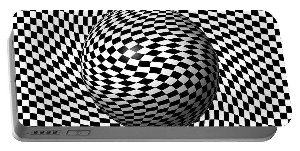 Pinch Portable Battery Charger featuring the digital art Sphere Abstract Pinch by Henrik Lehnerer