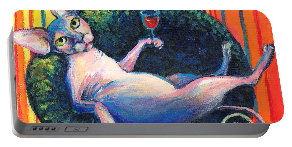 Sphynx Cat Portable Battery Charger featuring the painting Sphynx Cat Relaxing by Svetlana Novikova