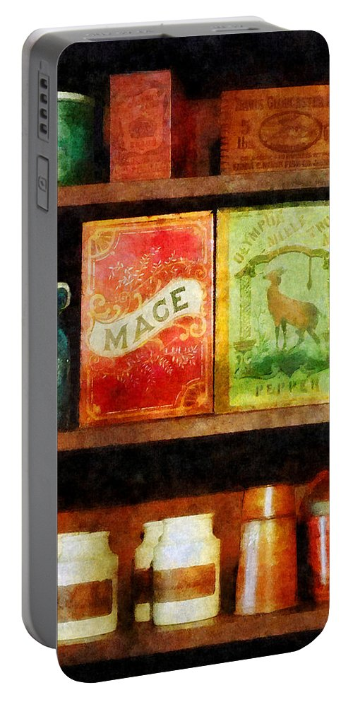 Spice Portable Battery Charger featuring the photograph Spices On Shelf by Susan Savad