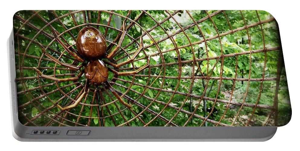 Spider Portable Battery Charger featuring the photograph Spider In Its Web by Alice Gipson