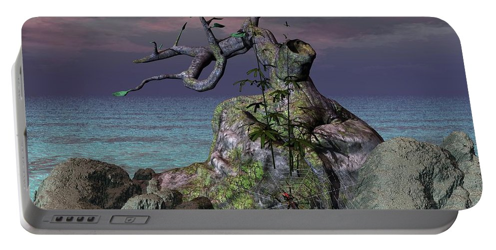 Spider Web Portable Battery Charger featuring the digital art Spider by Michael Wimer