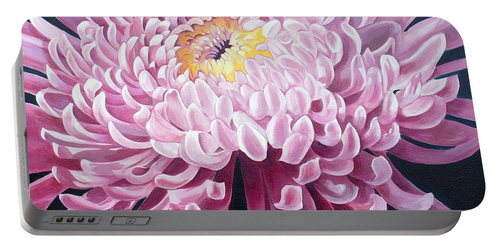 Nature Portable Battery Charger featuring the painting Spider Mum by Debbie Hart