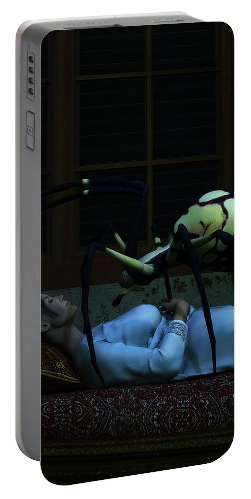 Nightmare Portable Battery Charger featuring the digital art Spider Nightmare by Daniel Eskridge