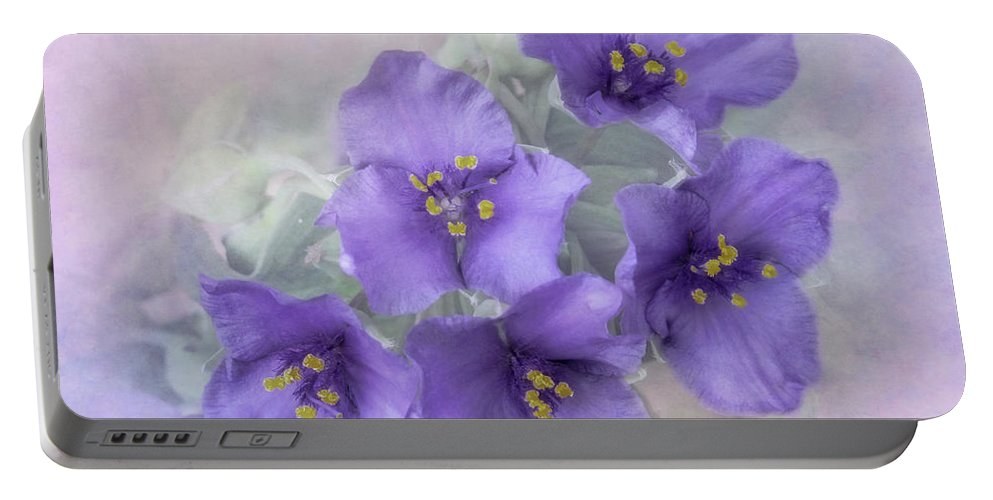 Bloom Portable Battery Charger featuring the photograph Spiderwort Cluster by David and Carol Kelly