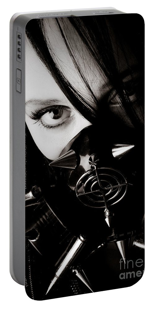 Girl Portable Battery Charger featuring the photograph Spiked Mask by Jt PhotoDesign