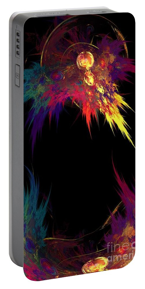 Rainbow Portable Battery Charger featuring the digital art Spilled Paint by Peggy Hughes