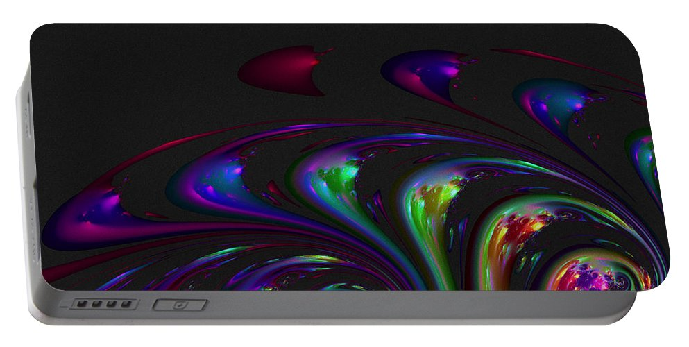 Fractal Portable Battery Charger featuring the digital art Spin Off by Judi Suni Hall