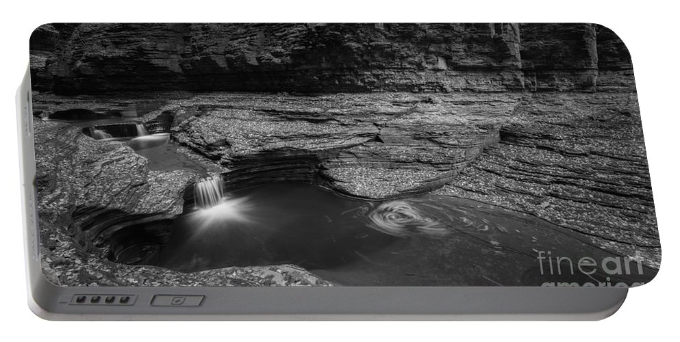 Cavern Cascade Portable Battery Charger featuring the photograph Spinning Leaves Bw by Michael Ver Sprill