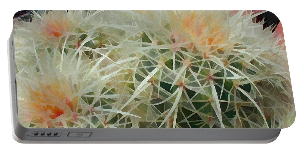 Cactus Portable Battery Charger featuring the painting Spiny Barrel Cactus by Elaine Plesser