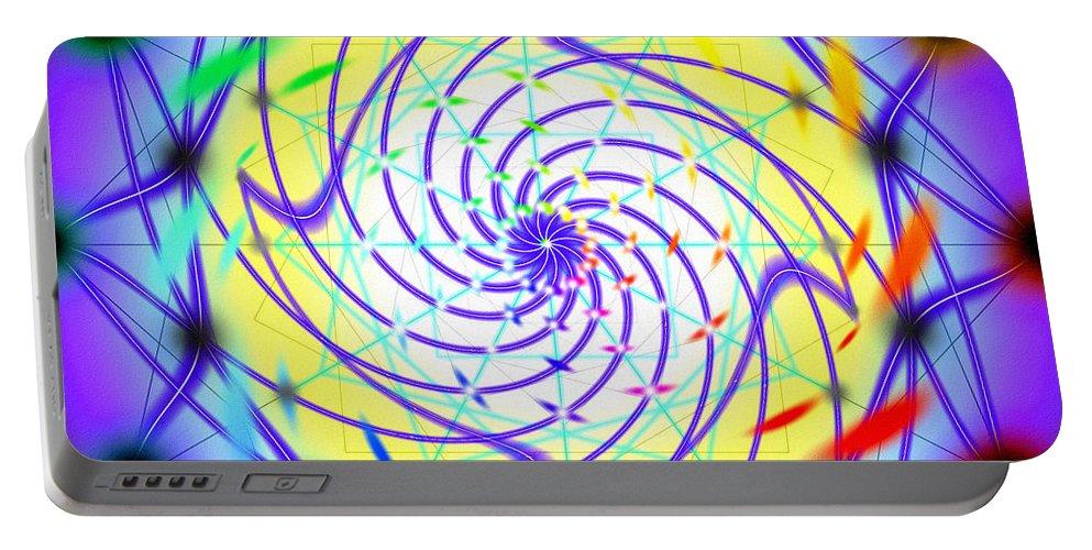Spiral Light Hexagon Portable Battery Charger featuring the digital art Spiral Light Hexagon by Derek Gedney